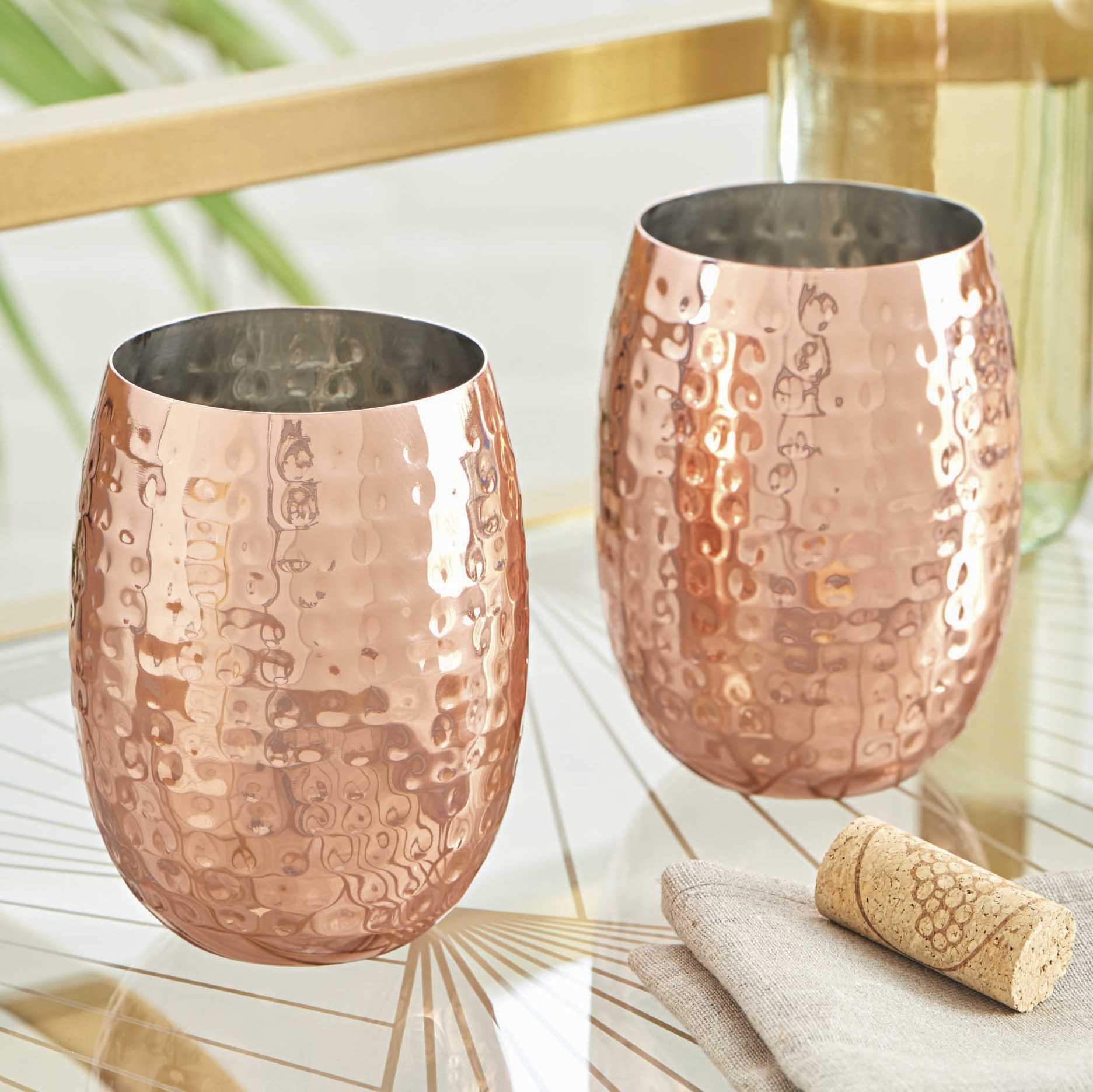 Better Homes and Gardens Copper S/2 Hammered Stemless Wine