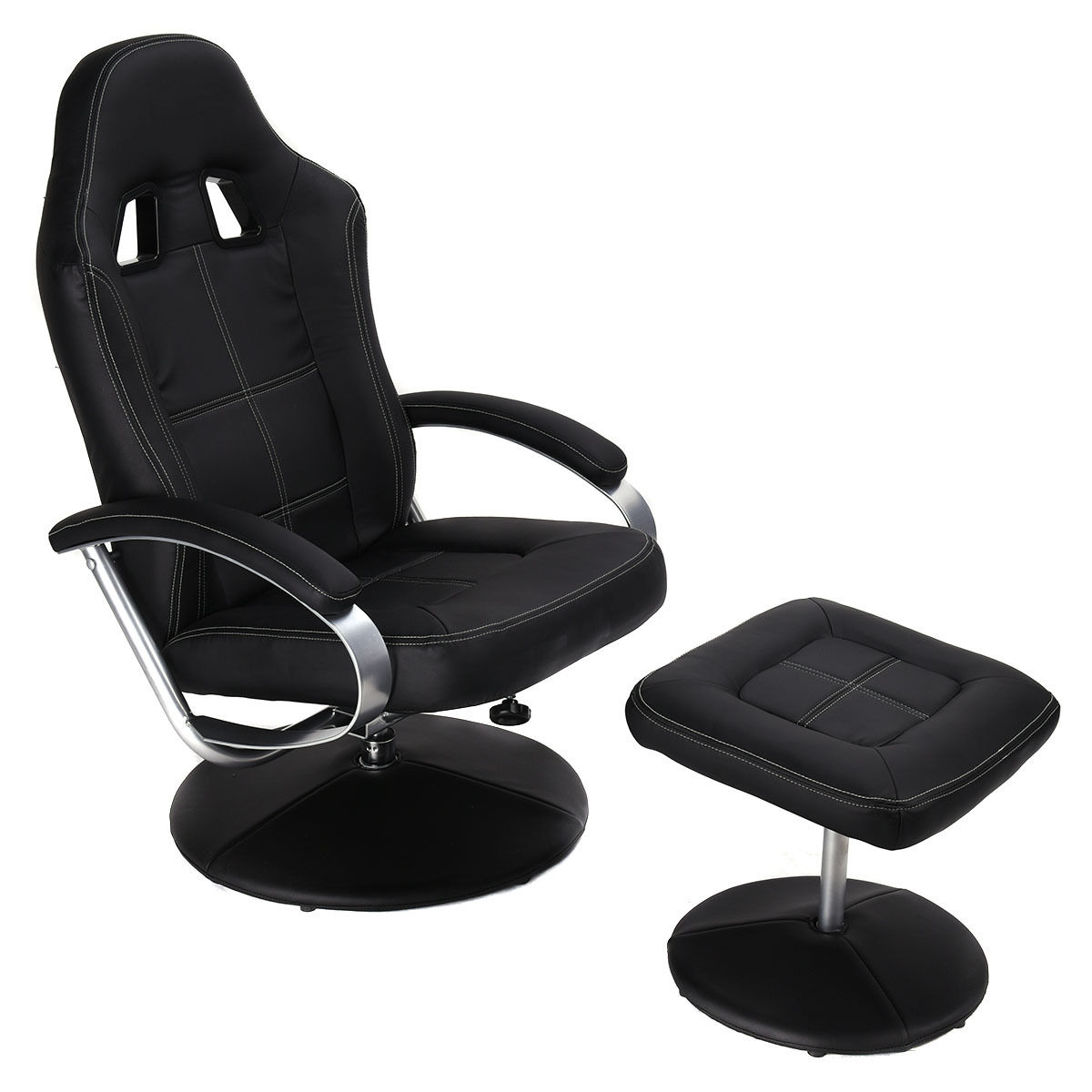 Costway Executive Pu Leather Racing Style Bucket Seat Chair Leisure  Recliner W/ Ottoman   Walmart.com