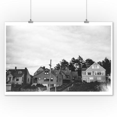 Nelscott, Oregon Cottages on Pacific Ocean Photograph (9x12 Art Print, Wall Decor Travel Poster)](Halloween Photo Op Board)