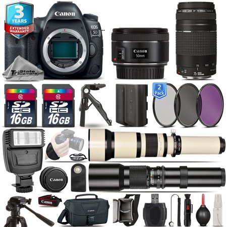 Canon EOS  5D Mark IV Camera + 50mm 1.8 + 75-300mm III + EXT BATT + 2yr (Canon 5d Mark 3 Best Price)