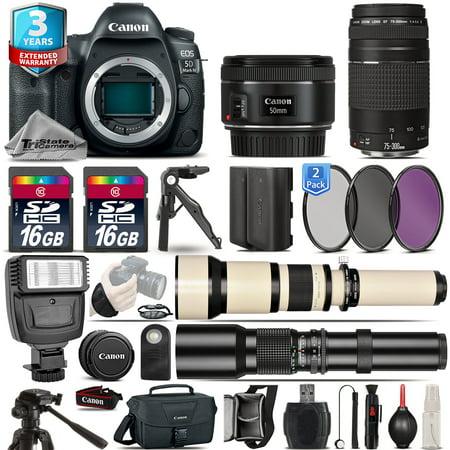 Canon EOS 5D Mark IV Camera + 50mm 1.8 + 75-300mm III + EXT BATT + 2yr Warranty
