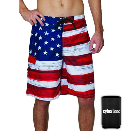 USA American Flag Old Glory Men's RWB Patriotic Board Shorts Swim Trunks + Coolie (S)