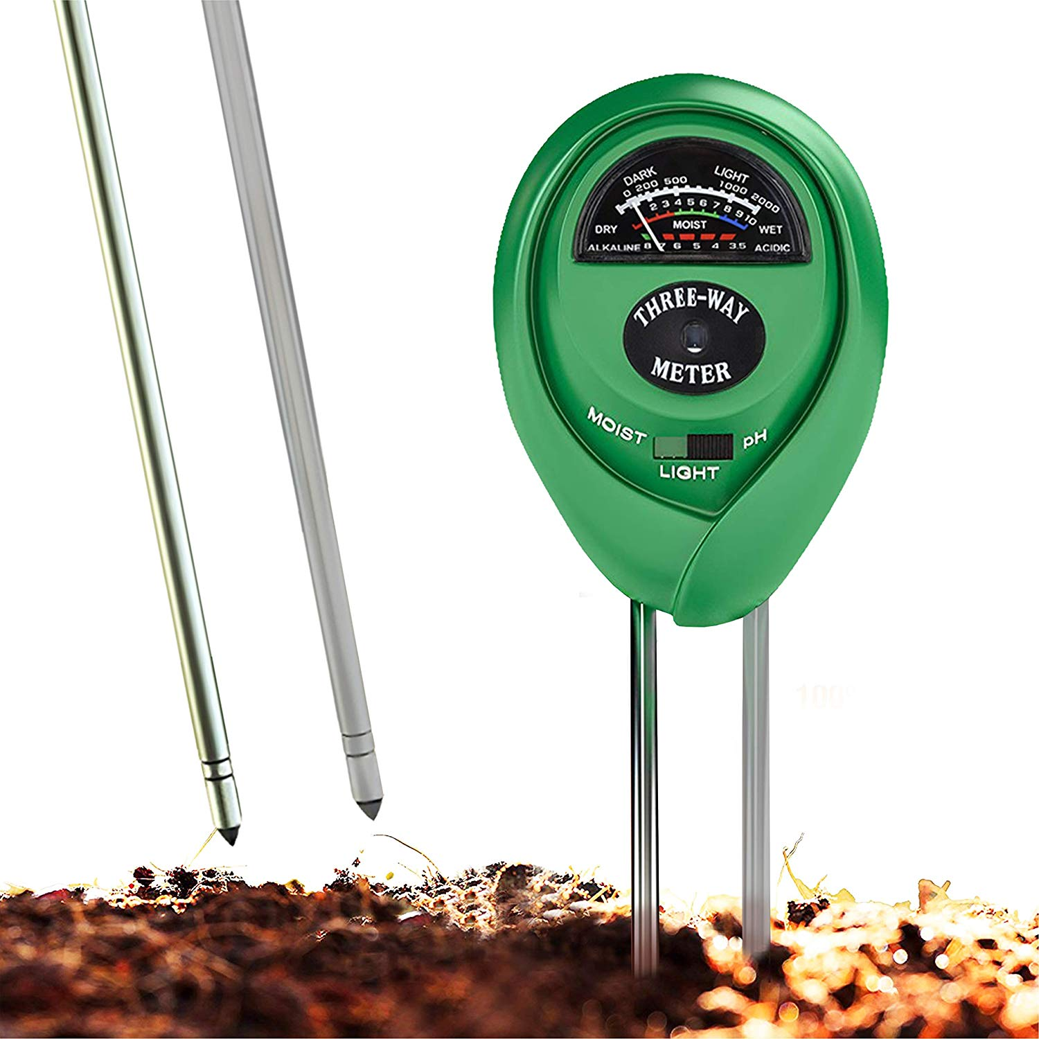 Soil pH Meter, 3-in-1 Soil Test Kit For Moisture, Light and pH, Indoor and Outdoors Soil Tester with 100% Accuracy