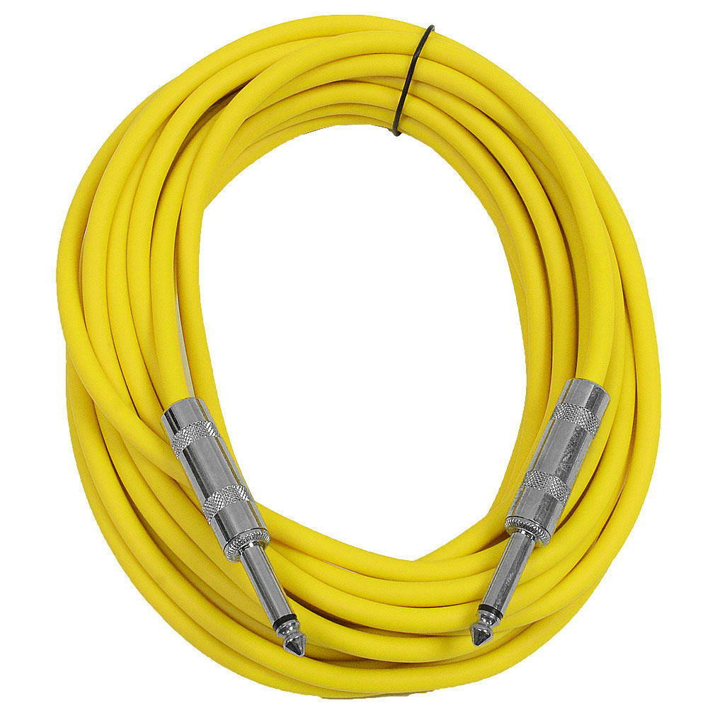 "Seismic Audio  - Yellow 1/4"" TS 25' Patch Cable - Effects - Guitar - Instrument Yellow - SASTSX-25Yellow"