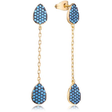 18kt Gold Plated Brass & Genuine Turquoise Chain Pendant Earrings
