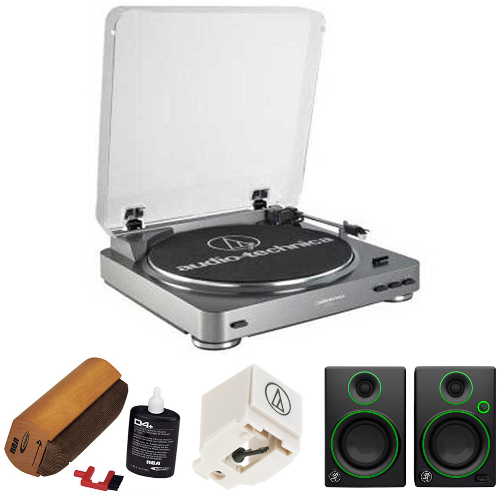 Audio-Technica AT-LP60 Turntable (AT-LP60)with RCA D4+ Vinyl Record Cleaning Fluid System, Replacement Stylus for AT-LP60 & AT-LP60USB Models & Mackie Creative Reference Multimedia Monitors (Pair)