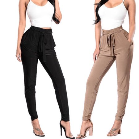 Womens Ladies Elastic Waist Legging Slim Fit Cuff Pants Skinny Jeggings - Button Cuff Legging