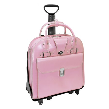 McKlein ROSEVILLE, Checkpoint-Friendly Detachable Wheeled Laptop Briefcase, Top Grain Cowhide Leather, Pink - Top Zip Underarm Leather Briefcase