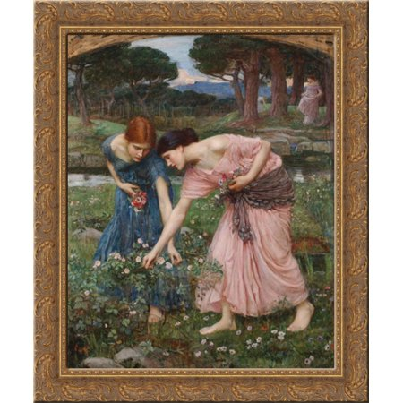 FrameToWall - Gather ye rosebuds while ye may 20x23 Gold Ornate Wood Framed Canvas Art by Waterhouse, John William