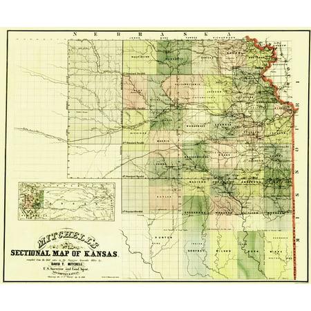 Old Kansas Map.Old State Map Kansas Mitchell 1859 23 X 27 80 Walmart Com