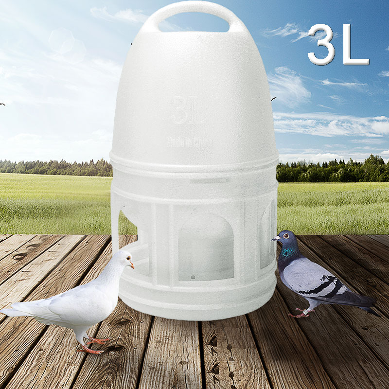 3L White Color Plastic Bird Water Drinker With Handle For Pigeons Birds
