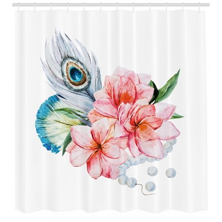 Shabby Chic Shower Curtain, Watercolor Style Peony Anemone Flowers Peacock Feather and Beads Artful Image, Fabric Bathroom Set with Hooks, Multicolor, by Ambesonne (Chic Peacock)