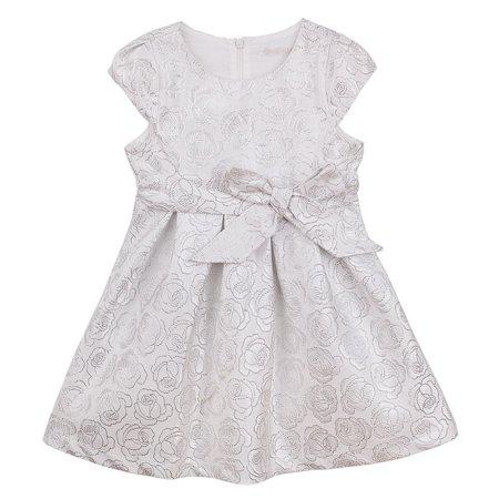 Designer Kidz Girls Silver Bow Cap Sleeve Livia Flower Girl Dress