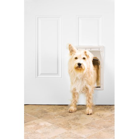 Premier Pet White Plastic Pet Door for Medium Dogs up to 40 Pounds - Paintable Frame Fits Interior or Exterior Doors - Soft, Tinted Flap with Magnetic Closure -A Closing Panel Included