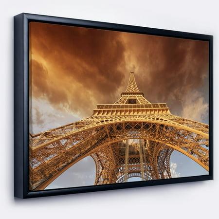 DESIGN ART Designart 'Beautiful View of Paris Paris Eiffel Towerin Paris' Large Cityscape Framed Canvas (Paris Cityscape)