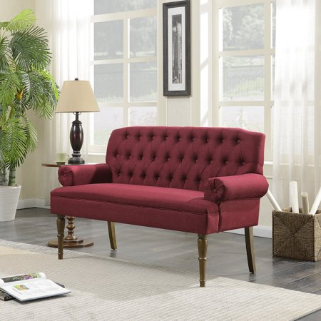 Belleze Mid-Century Vintage Sofa Settee Bench with Armrest with Linen Button Tufted, Burgundy