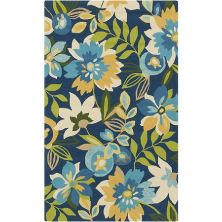 2' x 3' Fiori and Fogliame Blue and Green Hand Hooked Area Throw