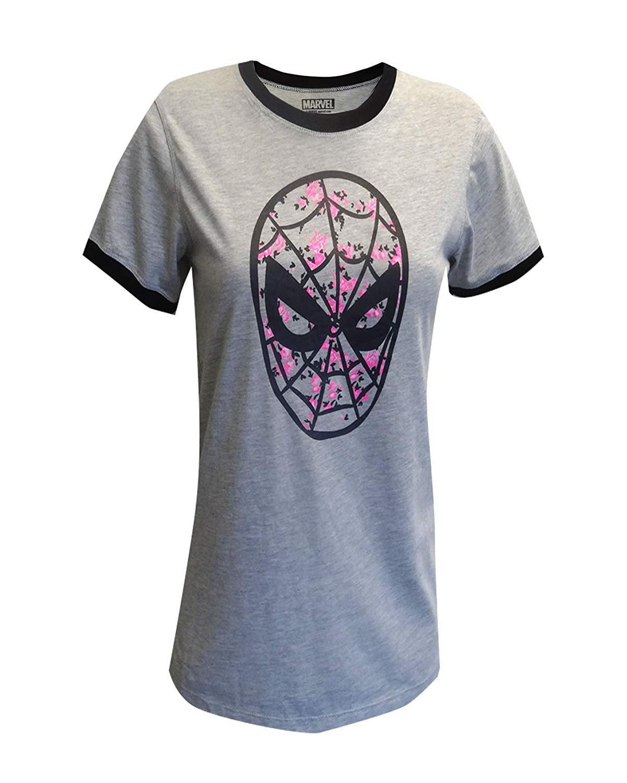 Marvel Comics Character Women's Dorm Nightowns Sleep T-Shirts, Spiderman-Gray, Size: XL