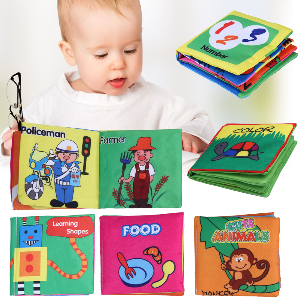 6PCS/Set Soft Cloth Books Rustle Sound Infant Educational Stroller Toy Christams gift