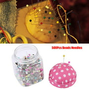 YLSHRF 500Pcs Beads Needles Quilting Pins in Pink Fabric Covered Pin Cushion Bottle Sewing Craft,Sewing Craft Decoration , Ball Head Pins