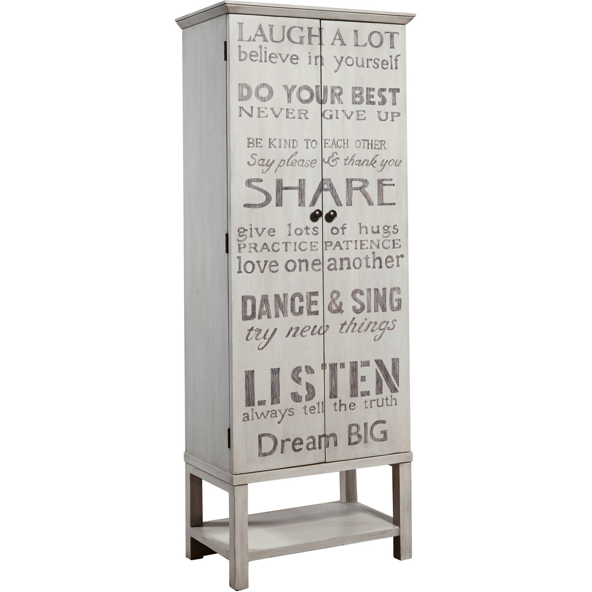 Grandma's Hand Painted Words of Wisdom Tall Wine Cabinet by