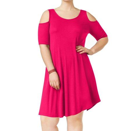 77e9f934f83 Soprano Women s Plus Cold-Shoulder Ribbed A-Line Dress