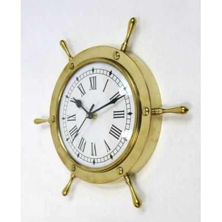 India Overseas Trading Br48270   Brass Ship Wheel Clock  7082   11
