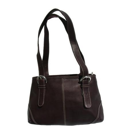 Piel Leather Medium Buckle Handbag - Chocolate