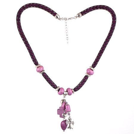 Lady Fashion Jewelry Stone Bead Heart Cross Pendant Mesh Cover Necklace - Purple Beaded Necklaces