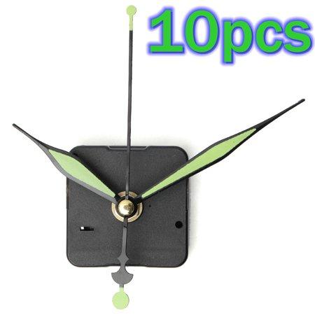 10Pcs Green Luminous Hands Silent Mode Home Room DIY Mechanism Quartz Clock Spindle Movement Parts Repair Tools (Moss Green Rose Clock)