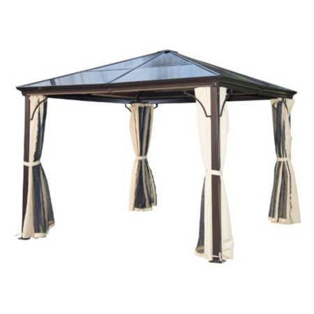 Outsunny 10 x 10 ft. Aluminum Hardtop Gazebo with Side