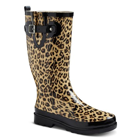 Women's Rainboot Tan/Leopard 10