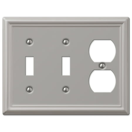 AmerTac 149TTDBN Chelsea Steel Double Toggle/Single Duplex Wallplate, Brushed Nickel