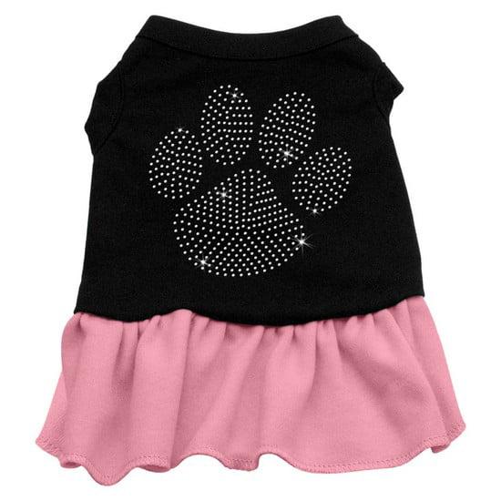 Rhinestone Clear Paw Dress Black with Pink Lg (14)