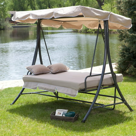 Coral Coast Lazy Caye 3 Person All-Weather Swing Bed with Toss Pillows -
