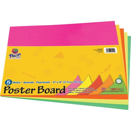 Peacock, PAC5412, Poster Board Package, 5 / Pack, Assorted,Orange,Red,Yellow,Green - Yellow Poster Board
