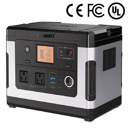 Suaoki Portable Solar Generator, 500Wh High Capacity Lithium-ion Power Supply Energy Storage with 300W AC Outlet, 12V Car, USB Output Off-Grid Power Supply for CPAP Backup Outdoor Camping Emergency