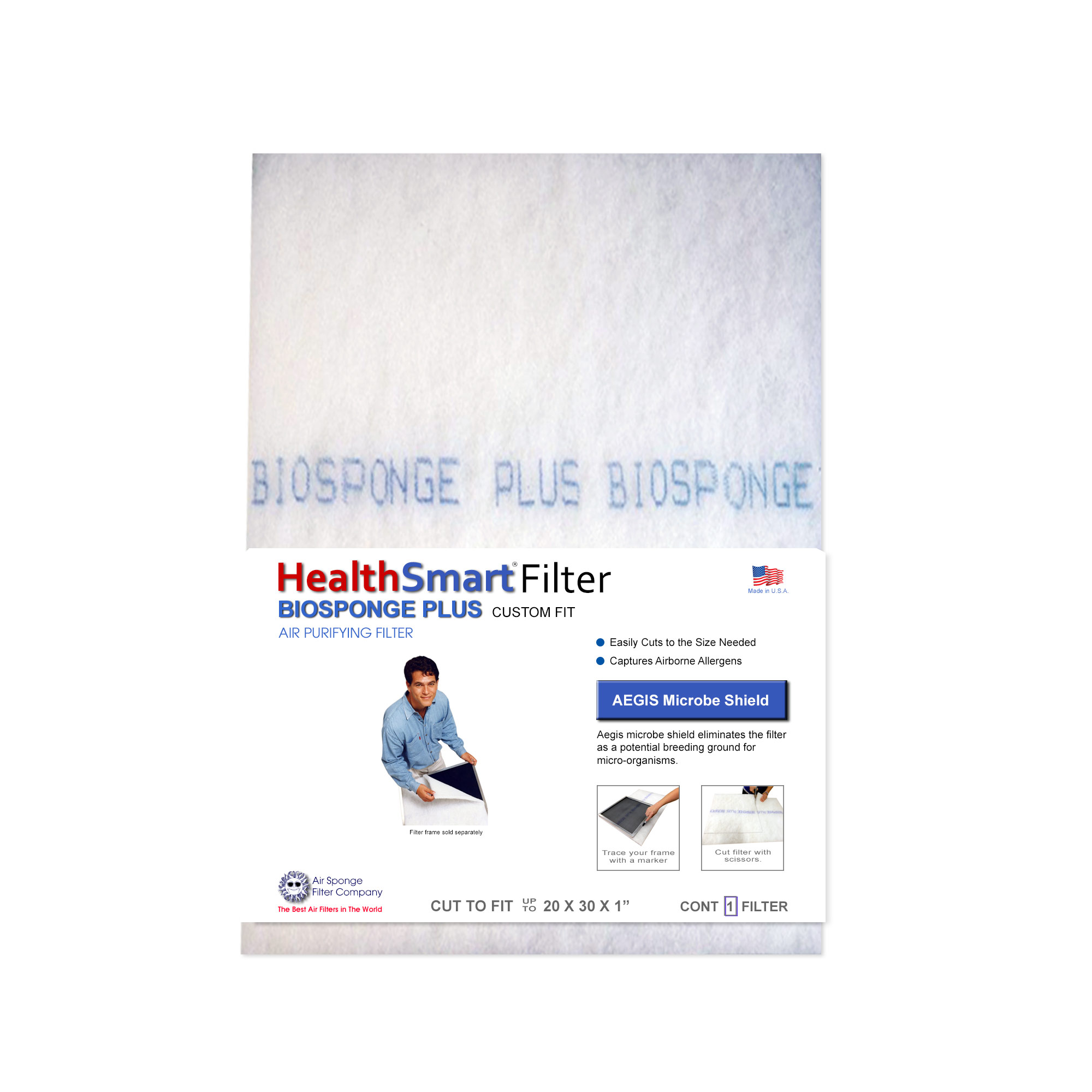 "Biosponge Plus Replacement Pad - Cut To Fit (20 x 30 x 1"" Max) for HealthSmart AC, Furnace Filter System"