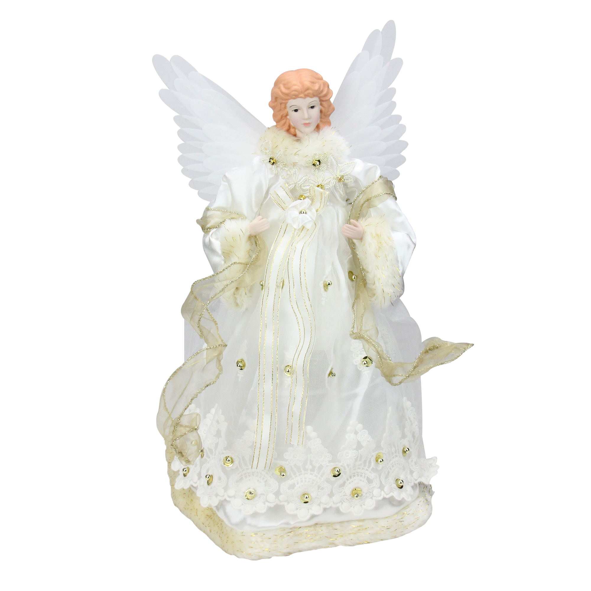 14 Lighted Gold Fiber Optic Animated Porcelain Angel Christmas Tree Topper