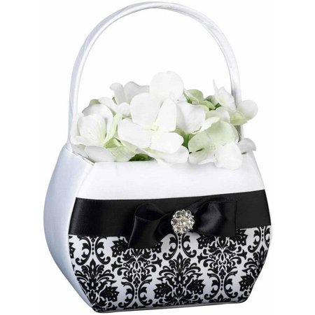 Lillian Rose Black Damask Flower Girl Basket