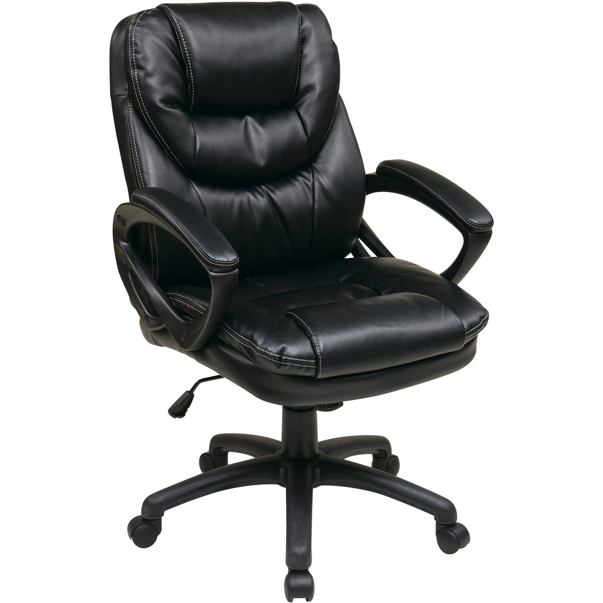 Faux Leather Executive Swivel Manageru0027s Office Chair With Padded Arms    Walmart.com