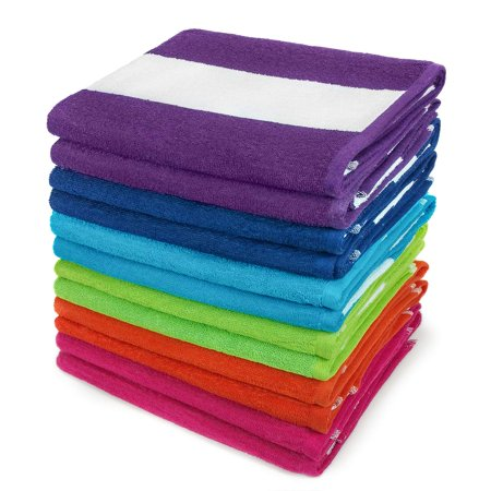 KAUFMAN - Cabana Terry Loop Beach & Pool Towel 12-Pack - 30in x 60in