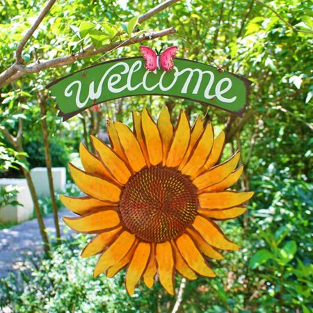 15 inch Tall Handcrafts Sunflower Welcome Sign Vintage Iron Hanging Decorative Butterfly Yard Front Door Porch Bar Cafe Shop Store Décor Outdoor Wreath