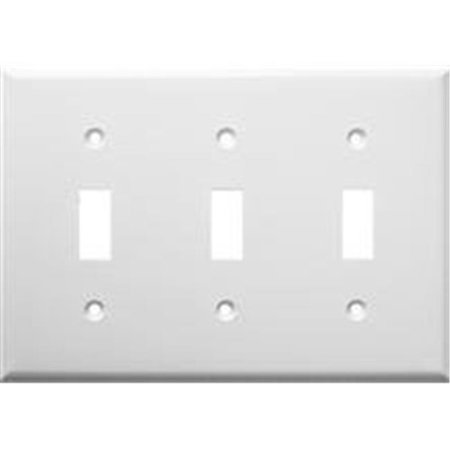 Lexan Wall Plates 3 Gang Toggle Switch - White Switch Tips