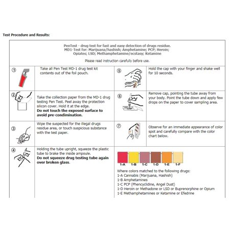 Drug Residue Surface Detection Test -2-STEP Determine if a substance is a  drug and what drug it is  [2 pen Tests]