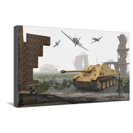 American P-47 Fighter Planes Attacking German Jagdpanther Tanks Stretched Canvas Print Wall Art