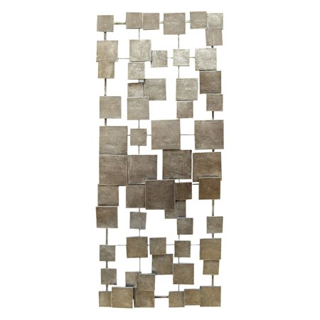 Stratton Home Decor Silver Geometric Tiles Rectangular Metal Wall Decor ()