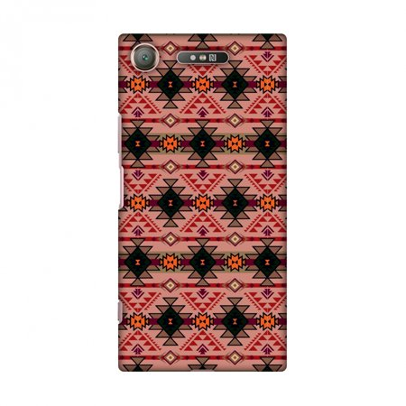 Sony Xperia XZ1 Case - Tribal tessellations- American pink, Hard Plastic Back Cover, Slim Profile Cute Printed Designer Snap on Case with Screen Cleaning Kit - Halloween Tessellations