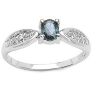 Malaika 0.53 Carat Blue Sapphire and White Topaz .925 Sterling Silver Ring Size-6, Blue