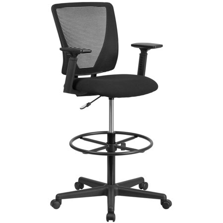 Flash Furniture Ergonomic Mid-Back Mesh Drafting Chair with Black Fabric Seat, Adjustable Foot Ring and Arms